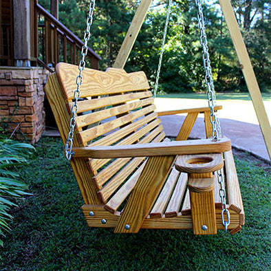 Classic Style Amish Porch Swing with cup holders side view