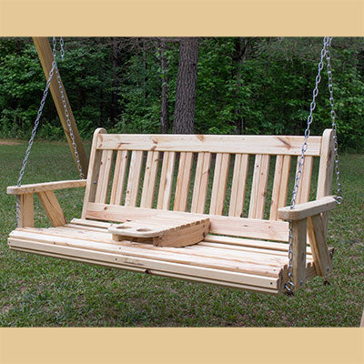 Mission Porch Swing - Knotty Pine w/Portable Cup Holder