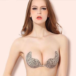 Cotton Self-Adhesive Push Up Silicone Strapless in Leopard Print