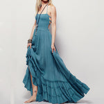 Solid Strapless Halter Backless Maxi Dress