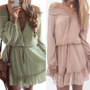 Solid Chiffon Bohemian Off Shoulder Long Sleeve Dress