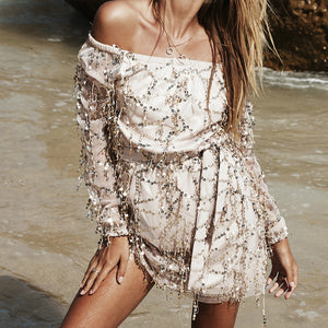 Sexy Long Sleeve Silver Sequins Off Shoulder Dress