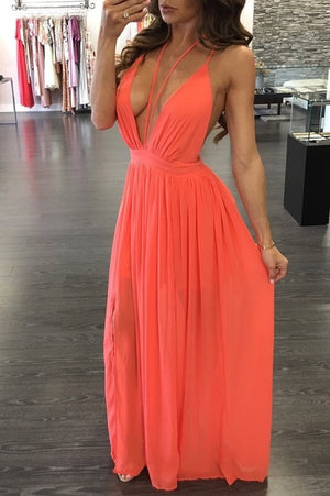 Chiffon V-Neck Sexy Maxi Dress