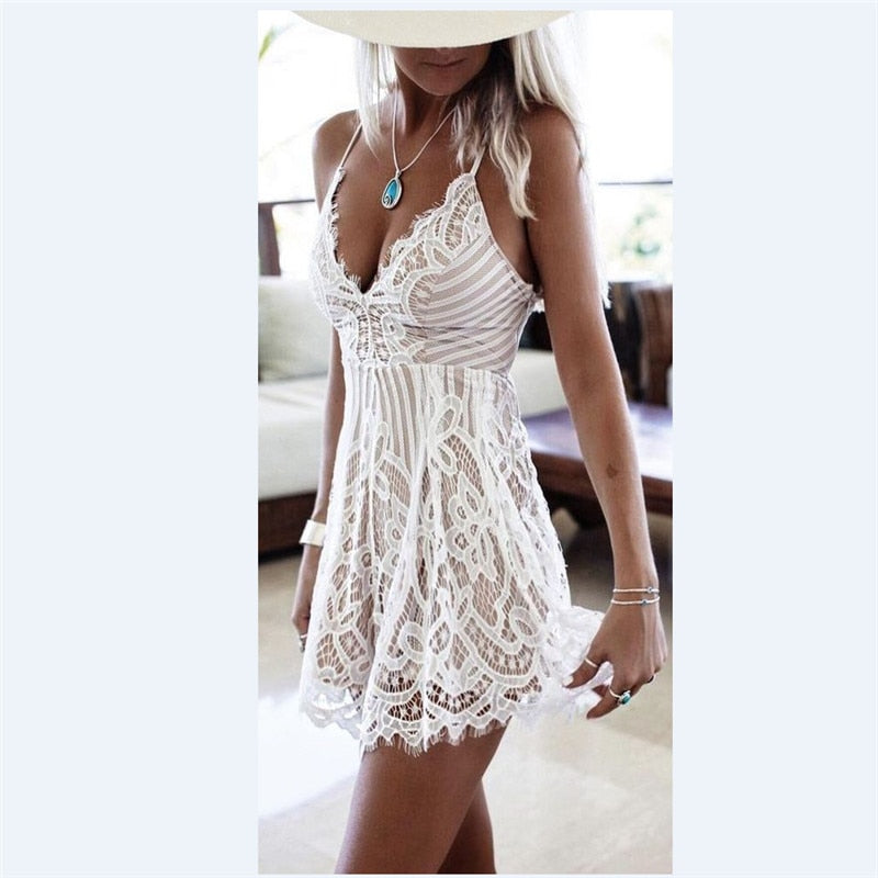 White Lace Spaghetti Strap Mini V-Neck Sundress