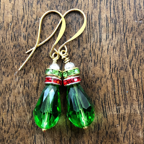 Green Ornament 2 Halo Earrings  from the Christmas Collection