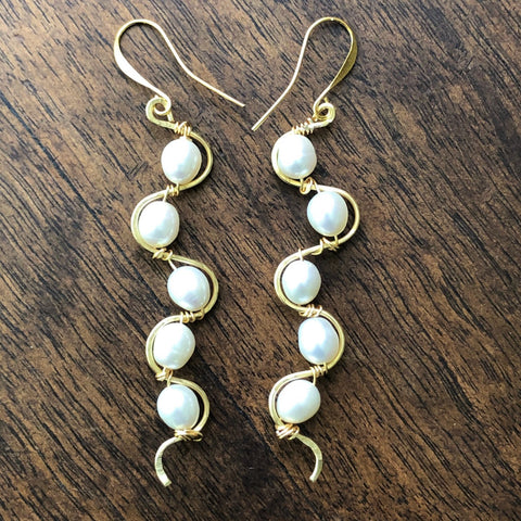 5 Freshwater Pearls on Bronze Wire Earrings