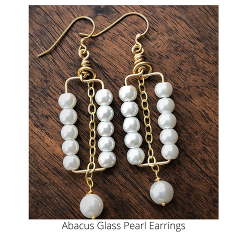 Abacus Glass Pearls on Bronze Wire Earrings