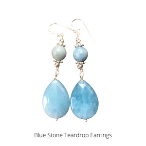 Blue Stone Teardrop Earrings