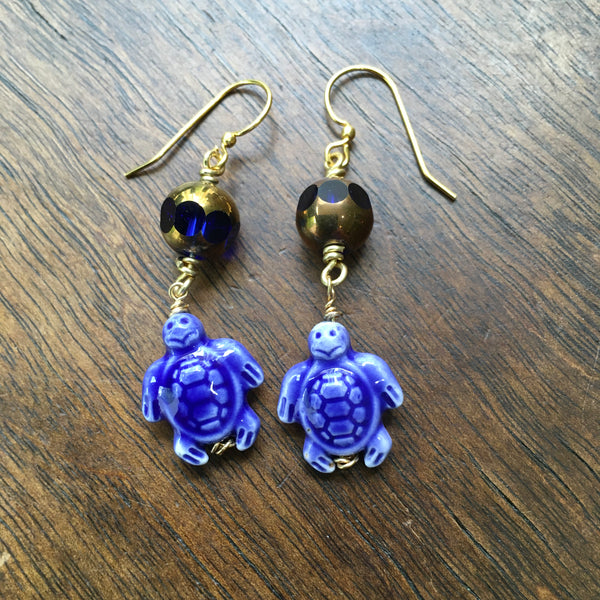 Blue Sea Turtle Earrings with Czech Glass Beads