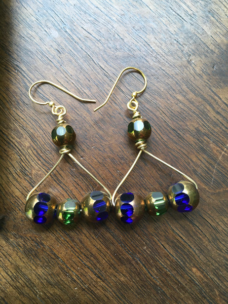 Blue & Green Czech Glass Abstract Earrings