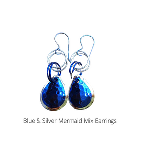 Blue & Silver Mermaid Teardrop Earrings