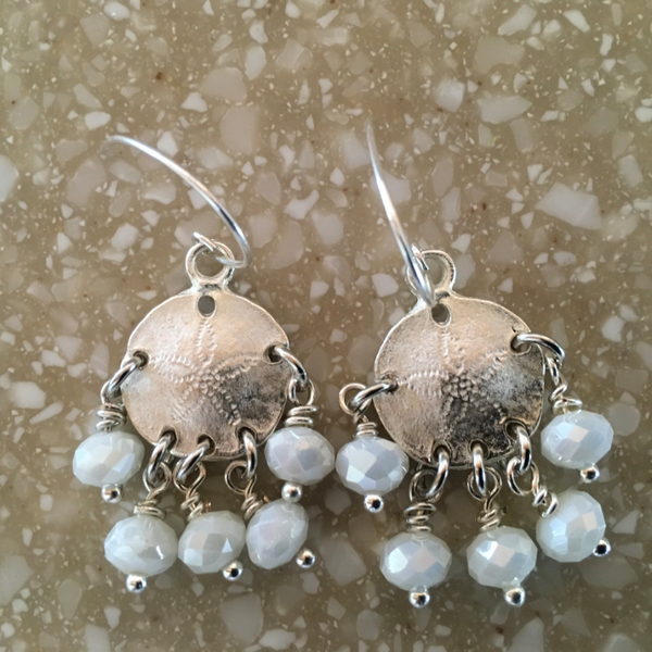 Boho Meets Beach Sand Dollar Earrings with Sterling Earwires
