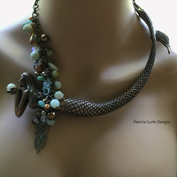 Coppery Patina Mermaid Necklace  One of a Kind