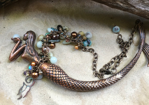 She Came From the Sea -- Copper Patina Mermaid Necklace