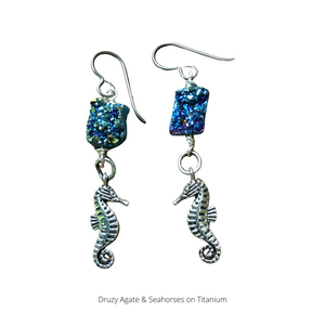 Druzy Agate and Seahorse Dangle Earrings