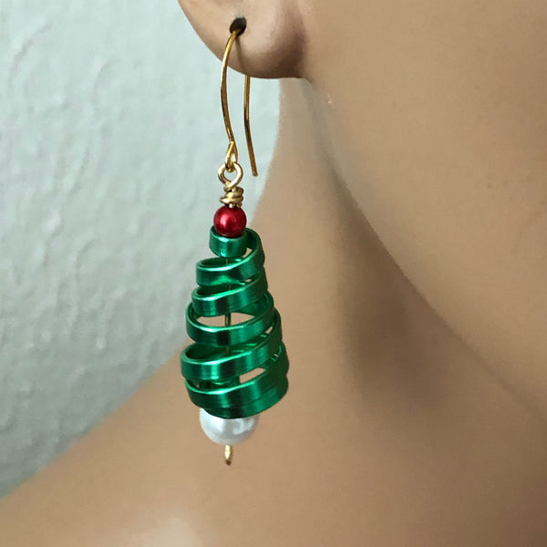 Green Tree Earrings from the Christmas Collection