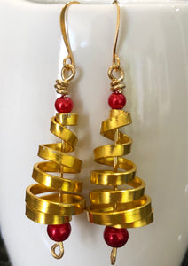 Gold Christmas Tree Earrings from the Christmas Collection
