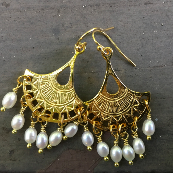 Chandeliers Are My Favorite Gold and Freshwater Pearl Earrings