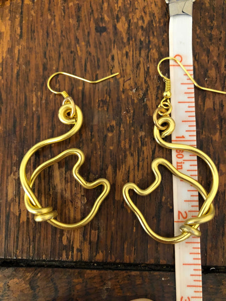 Golden Kitty Cat Earrings