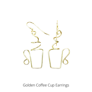 Golden Coffee Cup Earrings
