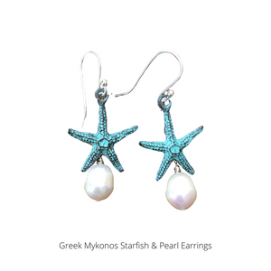 Starfish and Pearl Dangle Earrings