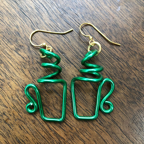 Green Coffee Cup Earrings   Anodized Aluminum