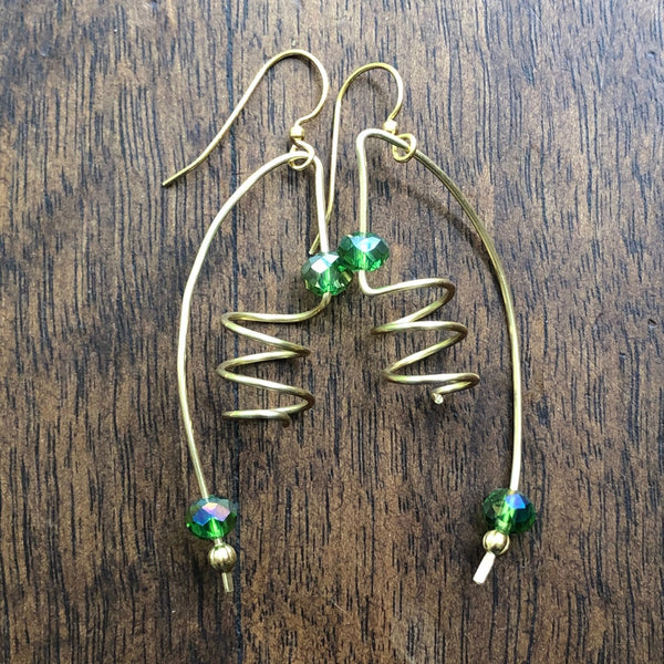 Golden Wire with Green Crystal Abstract Earrings