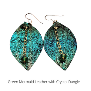 Green Mermaid Leather Earrings with Crystal Bead Dangle