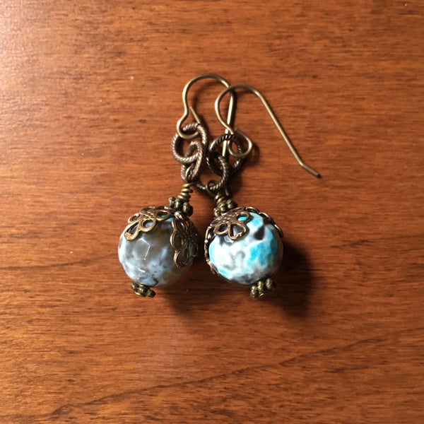 Bluesy Agate Earrings