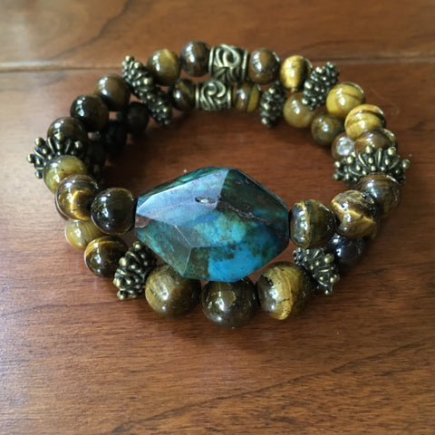 Earth and Sky:  Jasper and Tiger Eye Bracelet Set