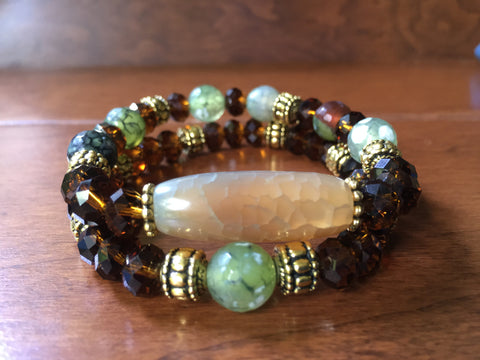 Green Agate and Brown Crystal Bracelet Set