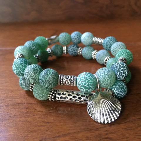 Frosty Sea Foam Agate Bracelet Set with Sea Shell Charm