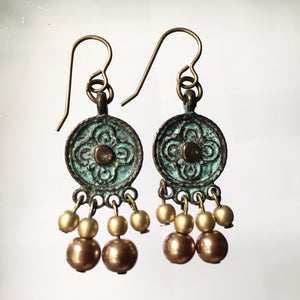 Boho Tonight? Dangle Earrings in Green Patina