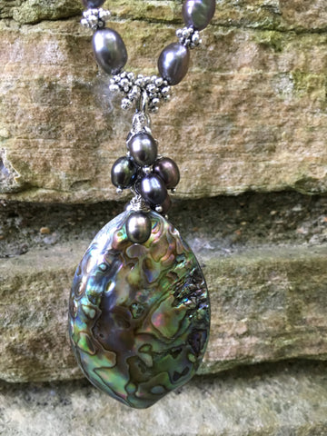 Called to the Sea Abalone Shell Necklace with Fresh Water Pearls