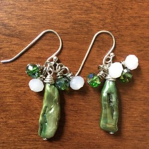 Green Freshwater Pearl and Crystal Earrings