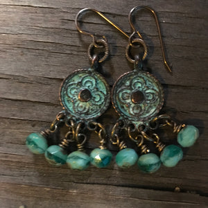 Boho This  Earrings with Czech Glass Beads