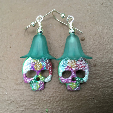 Sugar Skull Earrings on Sterling Silver Earwires
