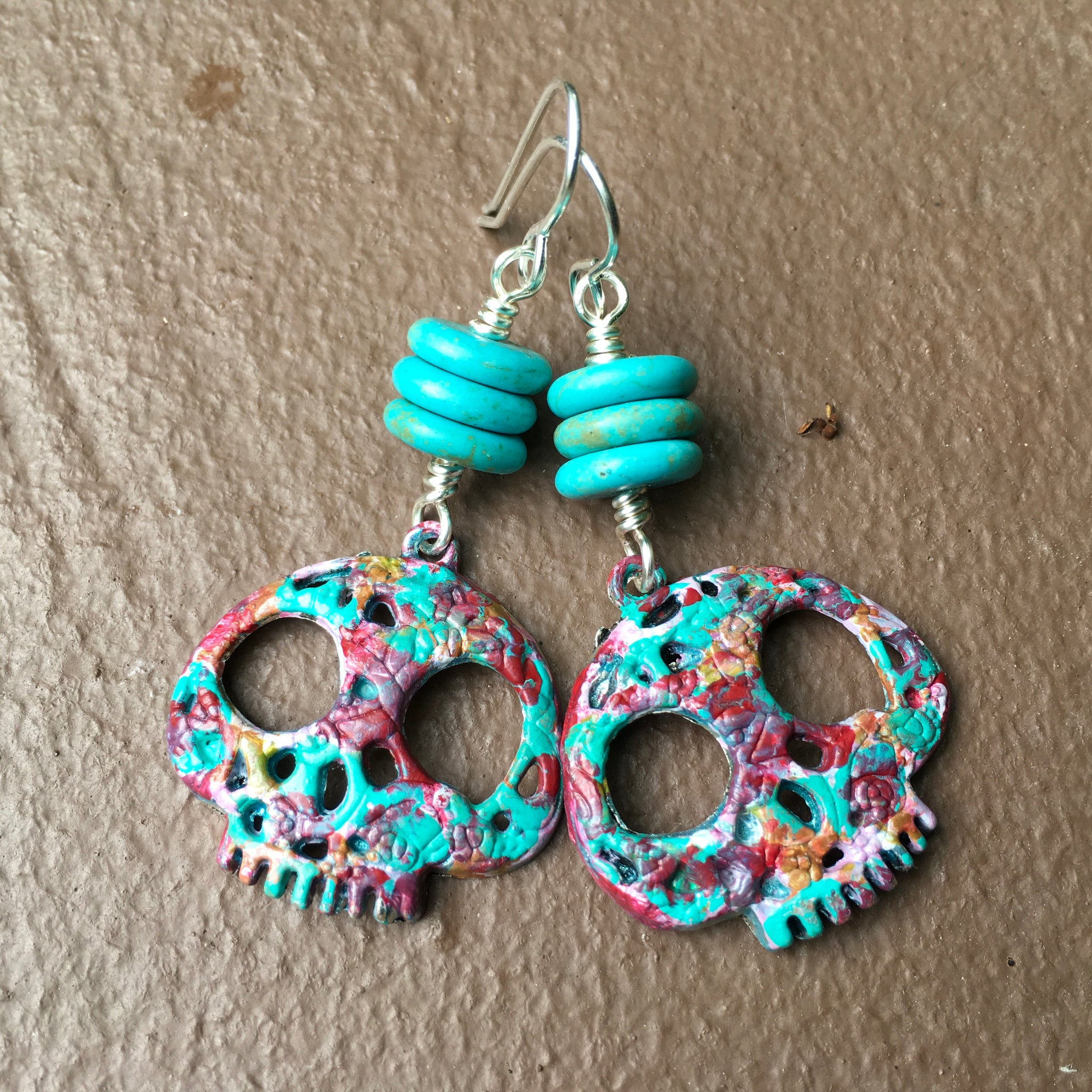 Crazy Colorful Hand Painted Sugar Skull Earrings