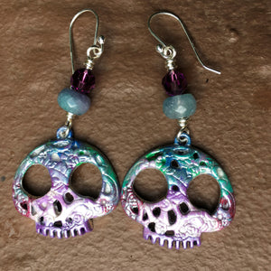 Sugar Skull Earrings with Agate and Swarovski Crystals