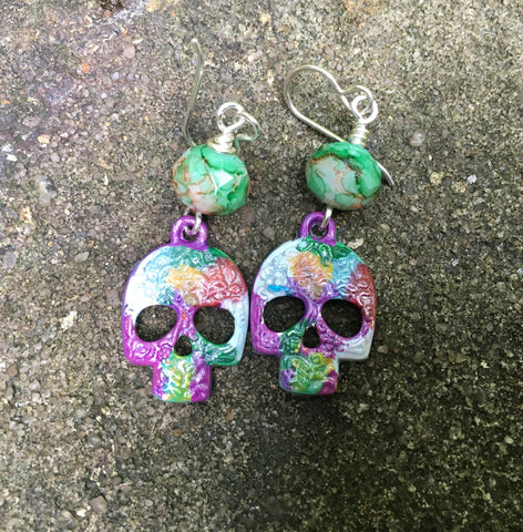 Sugar Skull Earrings with Czech Glass Beads on Sterling Silver Ear Wires