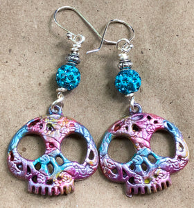 Crazy Skull Earrings on Sterling Silver Earwires