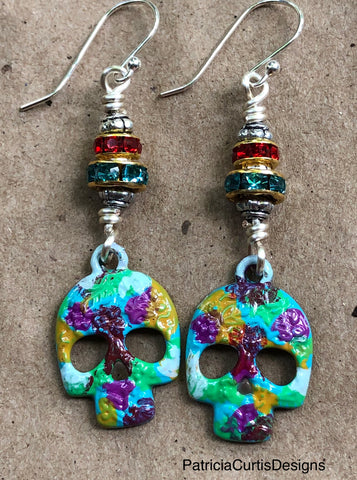 Brightly painted sugar skull earrings