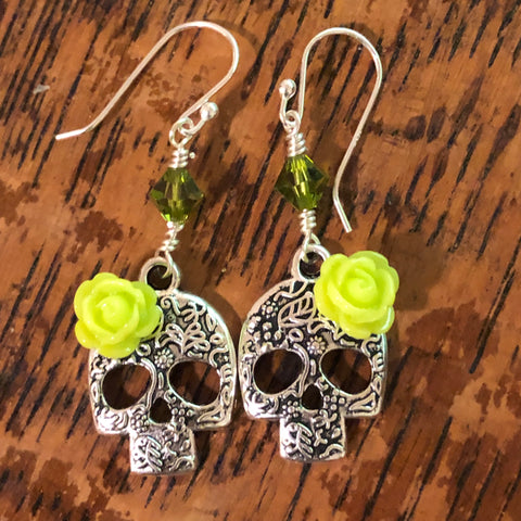 Sugar Skull earrings   Lime green roses