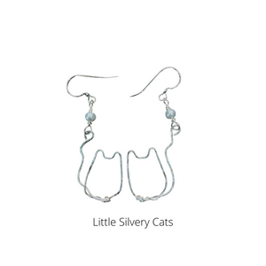 SIlvery Cat Earrings