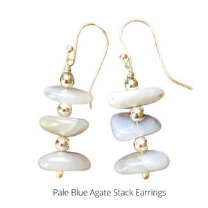 Pale Blue Agate Stack Earrings