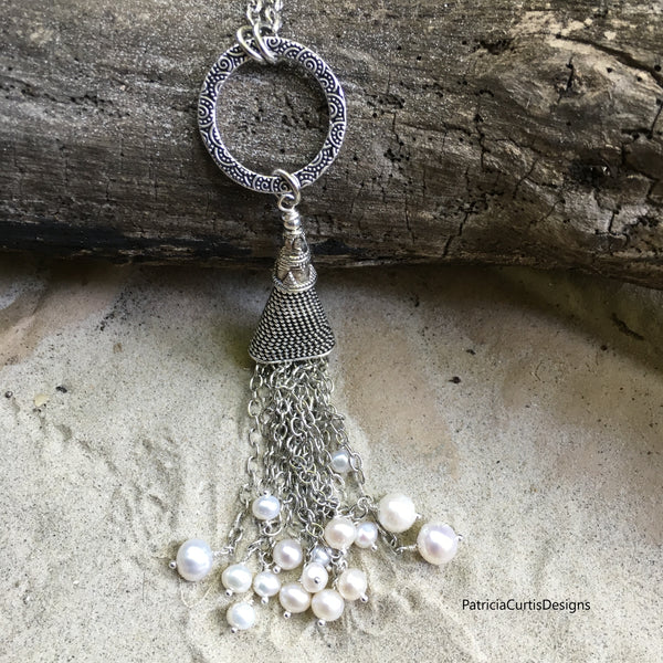 Pearly Tassel Necklace Antiqued