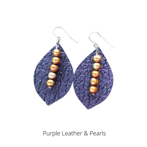 Purple Leather & Pearl Earrings