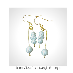 Retro Glass Pearl Dangle Earrings
