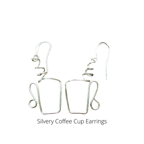 Silvery Coffee Cup Earrings