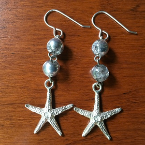 Icy Dew Drop Silver Star Fish Earrings